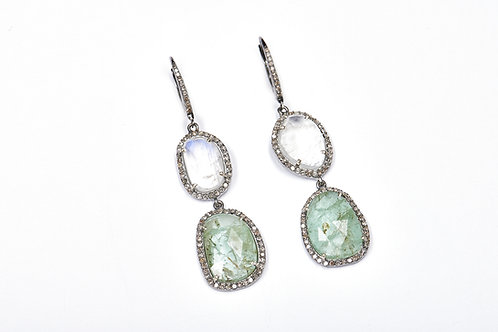 Raw Emerald & Moonstone Earrings
