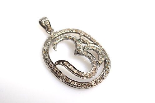 Sterling Silver and Pave Diamond OM Pendant