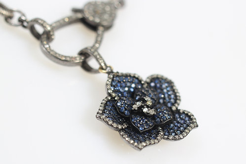 Sapphire and Pave Diamond Flower Pendant