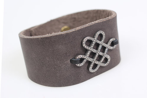 Leather Cuff with Pave Diamond Connector