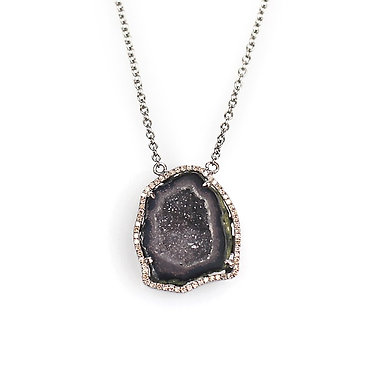 Geode and Pave Diamond Necklace