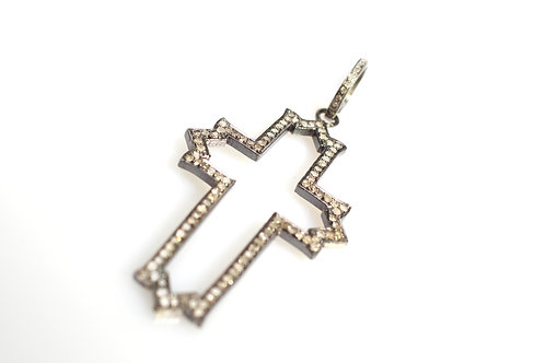 Sterling Silver and Pave Diamond Cross