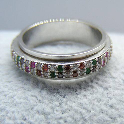 Pierścionek z kolorowymi cyrkoniami srebro 925
