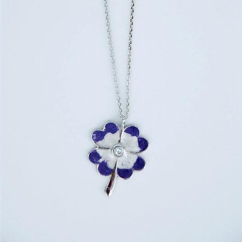 Naszyjnik kwiat emalia srebro 925