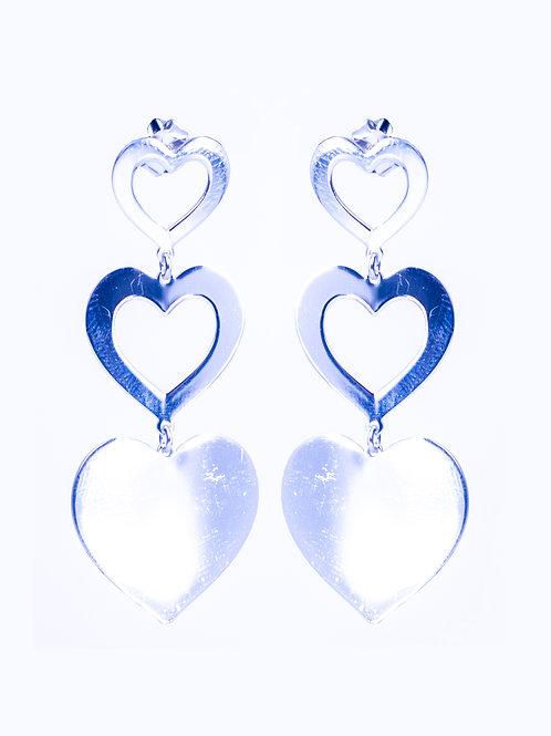 Kolczyki wiszące 3 serca małe srebro 925