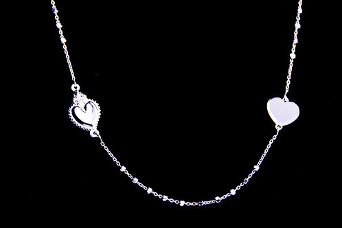 Naszyjnik 2 serca srebro 925