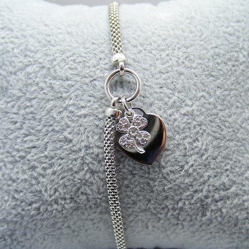 Bransoletka serce i kwiat z cyrkoniami srebro 925