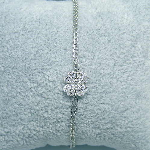 Bransoletka kwiat z cyrkoniami srebro 925
