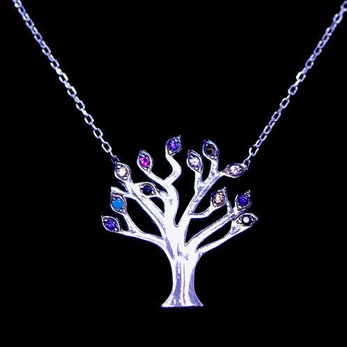 Naszyjnik z drzewem i cyrkoniami srebro 925