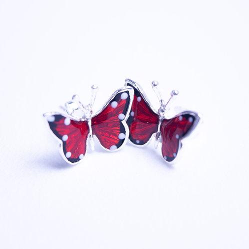 Kolczyki motyle emaliowane srebro 925