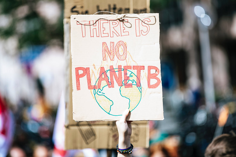 """Sign from a climate change protest saying """"There is no Planet B"""""""