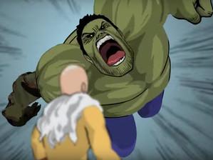 Hulk vs One Punch Man em animação Fan-Made
