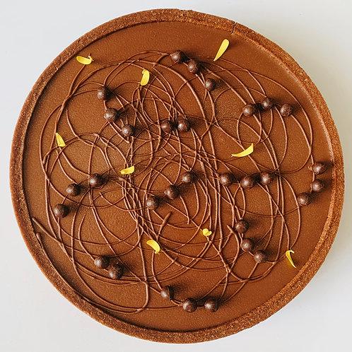 Tarta de chocolate y maracuyá
