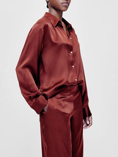 London Burgundy Silk Pyjama Set