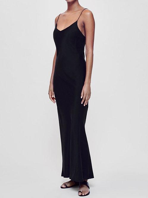 Lyon Black Silk Slip Dress