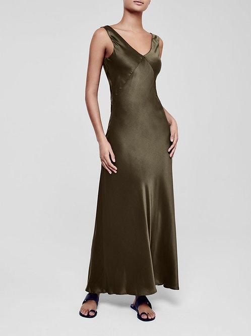 Bordeaux Dark Olive Silk Slip Dress