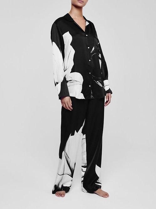 London Black Flower Silk Pyjama Set