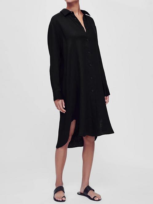 Oxford Black Linen Shirt Dress