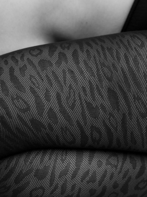 Emma Black Leopard Stockings