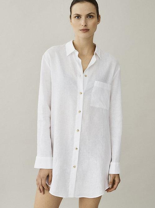 Formentera White Linen Boyfriend Shirt