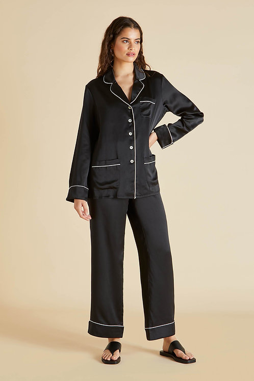Coco Jet Black Silk Pyjama