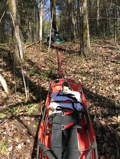 Exercice de sauvetage en terrain incliné