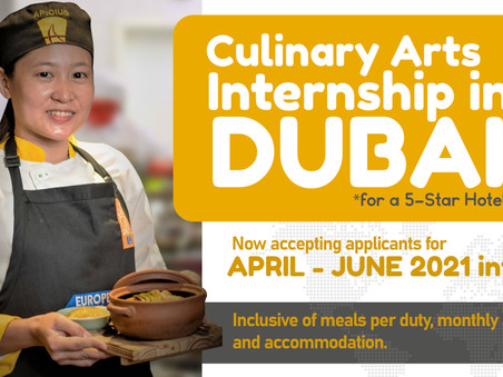 URGENT: Culinary Arts Internship in Dubai!