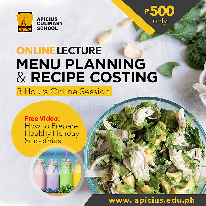 Menu Planning and Recipe Costing - Online Lecture