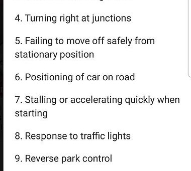 Top 10 reasons for not passing the driving test.