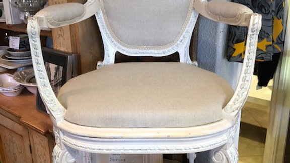 French antique chair/ linen upholstery