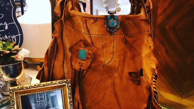 New Handmade leather fringed bag