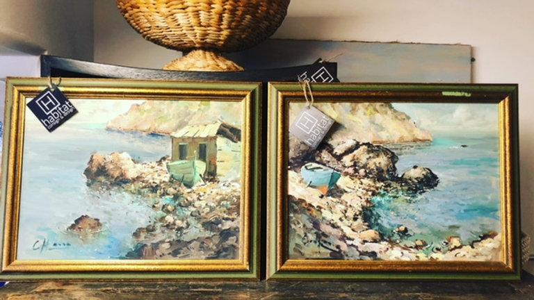 Vintage signed coastal paintings