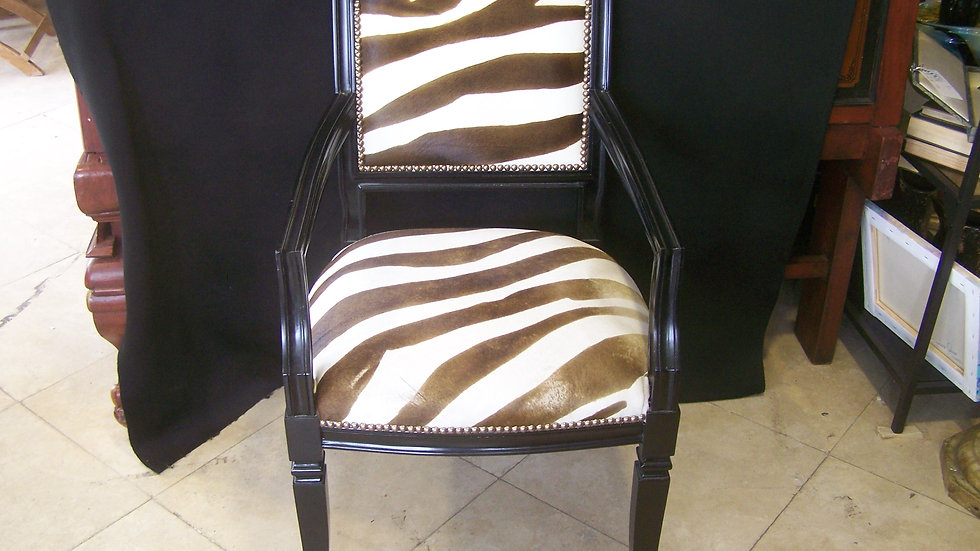 Zebra print cowhide chair by Oly studio