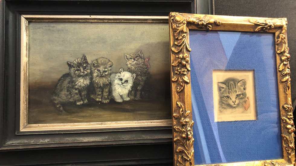 Original vintage kitten painting