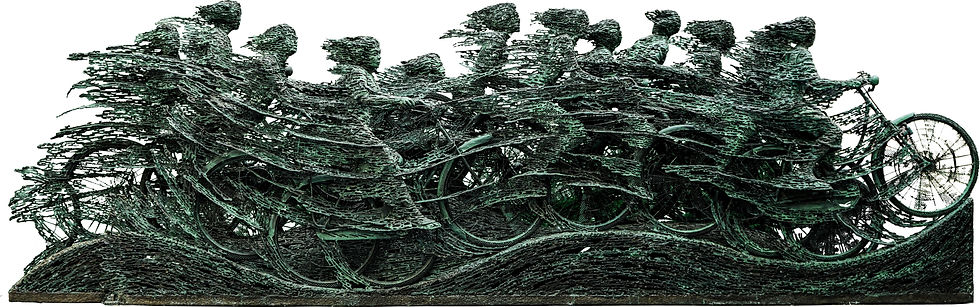 Rush Hour depicts the enthusiasm of the cyclists. Nuarta captures the cyclists' dynamics though the streaks of metal trailing the bicycles and cyclists in order to contort the images, giving a visual effect as if it was a motion picture.