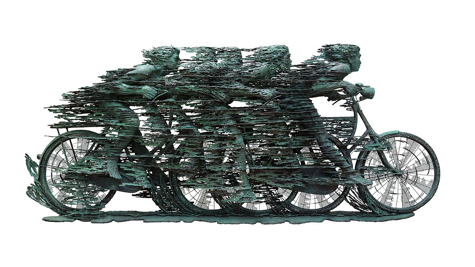 Nyoman Nuarta took inspiration for Rush Hour II from cyclists he saw in the Netherlands. By depicting a person capable of travelling at high speed by employing the bicycle, the simplest of industrial-era machines, Nuarta questions the purpose of ceaseless technological advance. This rumination on the essence of industrial progress, with an attendant of environmental and social burdens of pollution and traffic jams, is the real theme of Rush Hour.