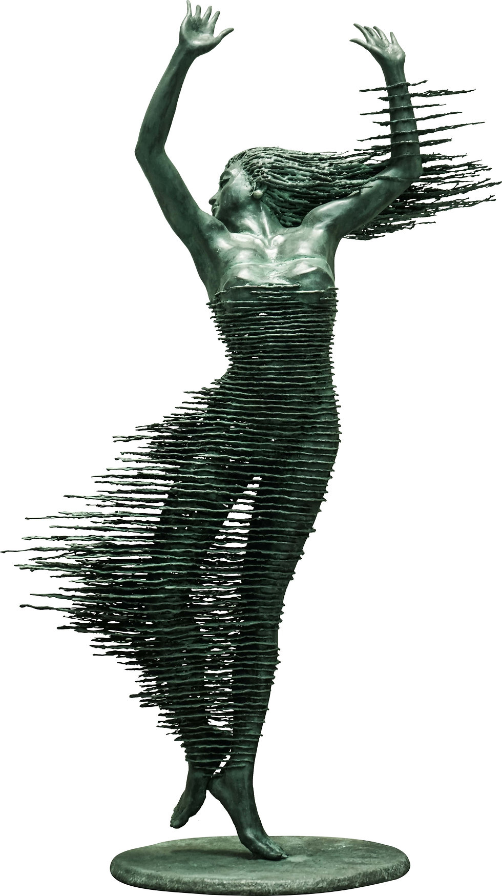 The work depicts a dancing woman, with her skirt and hair extending in the air, showing a combination of strength and grace.