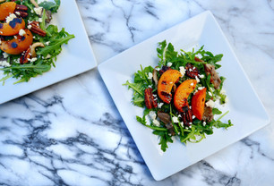 Grilled Apricot Salad with Candied Pecans, Mushrooms, and Infused Champagne Pear Vinaigrette