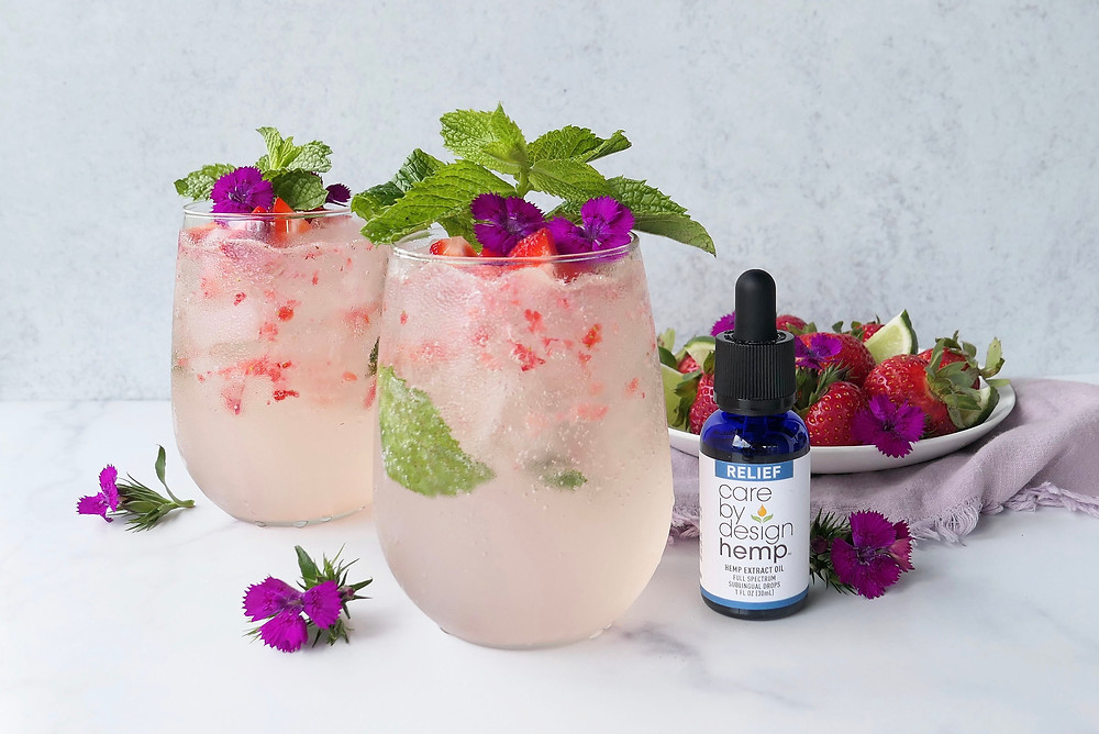The Herb Somm's Strawberry Mint CBD Spritz Infused with Care By Design Hemp
