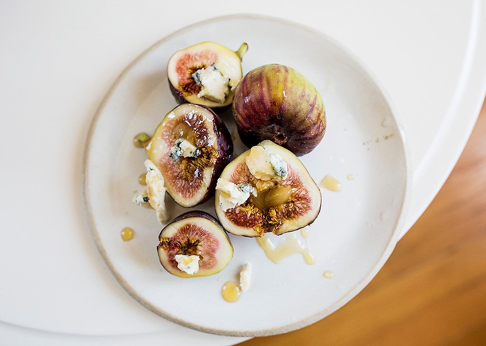 Sous Weed Figs, Blue Cheese and Honey
