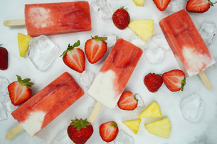Strawberry, Pineapple, and Coconut Canna-Popsicles with Guava Nectar