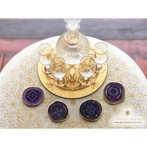 Arai'na 24k Gold Agate Coaster Set - Purple (1)