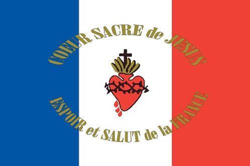 DRAPEAU COEUR SACRE DE JESUS ESPOIR ET SALUT DE LA FRANCE