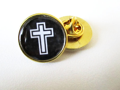 PIN'S EPINGLETTE CROIX CRUCIFIX EGLISE CATHOLIQUE - FINITION OR OU ARGENT
