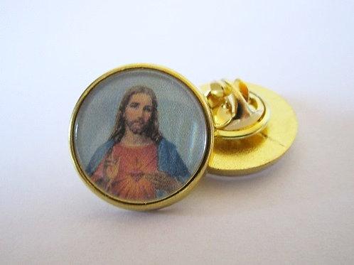 PIN'S EPINGLETTE COEUR SACRE DE JESUS CHRIST  - FINITION OR OU ARGENT