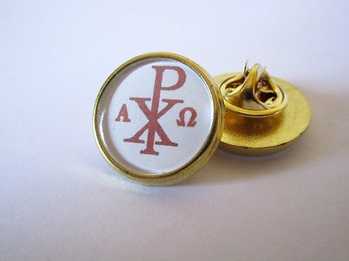 PIN'S EPINGLETTE CHI RHO CHRISME - FINITION OR OU ARGENT