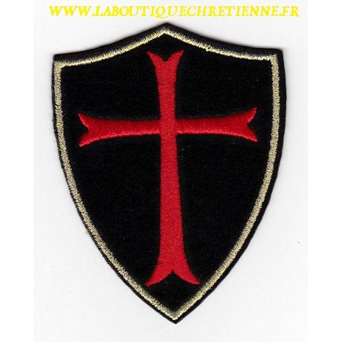 ECUSSON CROIX TEMPLIER CHEVALIER DU CHRIST - 8 X 6 CM