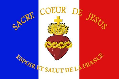 DRAPEAU SACRE COEUR DE JESUS ESPOIR ET SALUT DE LA FRANCE