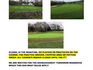 Course to re-open on Wednesday 2nd December