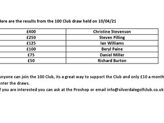100 Club 1st Quarter Draw